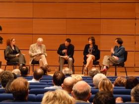 Sur la scène, Barbara Leitzgen, Jean-Marie Lehn, Laurent Simon, Barbara Bay et Christelle Carrier.