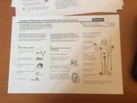Consignes pour la douche pré-opératoire. Document en test. Graphisme Anne Régnault. Rédactionnel, équipe des médecins hygiénistes (EOH) avec les équipes de soin.